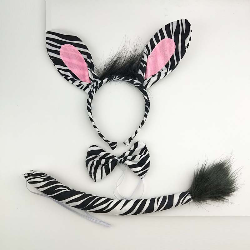 Boy Girl Women Cartoon Animal Zebra Ear Headband Headwear Tail Tie Birthday Party Cosplay Costume Halloween Christmas Props