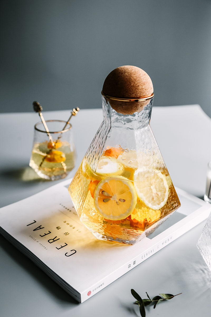 Water Kettle Glass Cups Nordic Geometric Glass Cold Water Jug Set Cup Drinking Ware Simple Household Juice Pot Water Pitcher