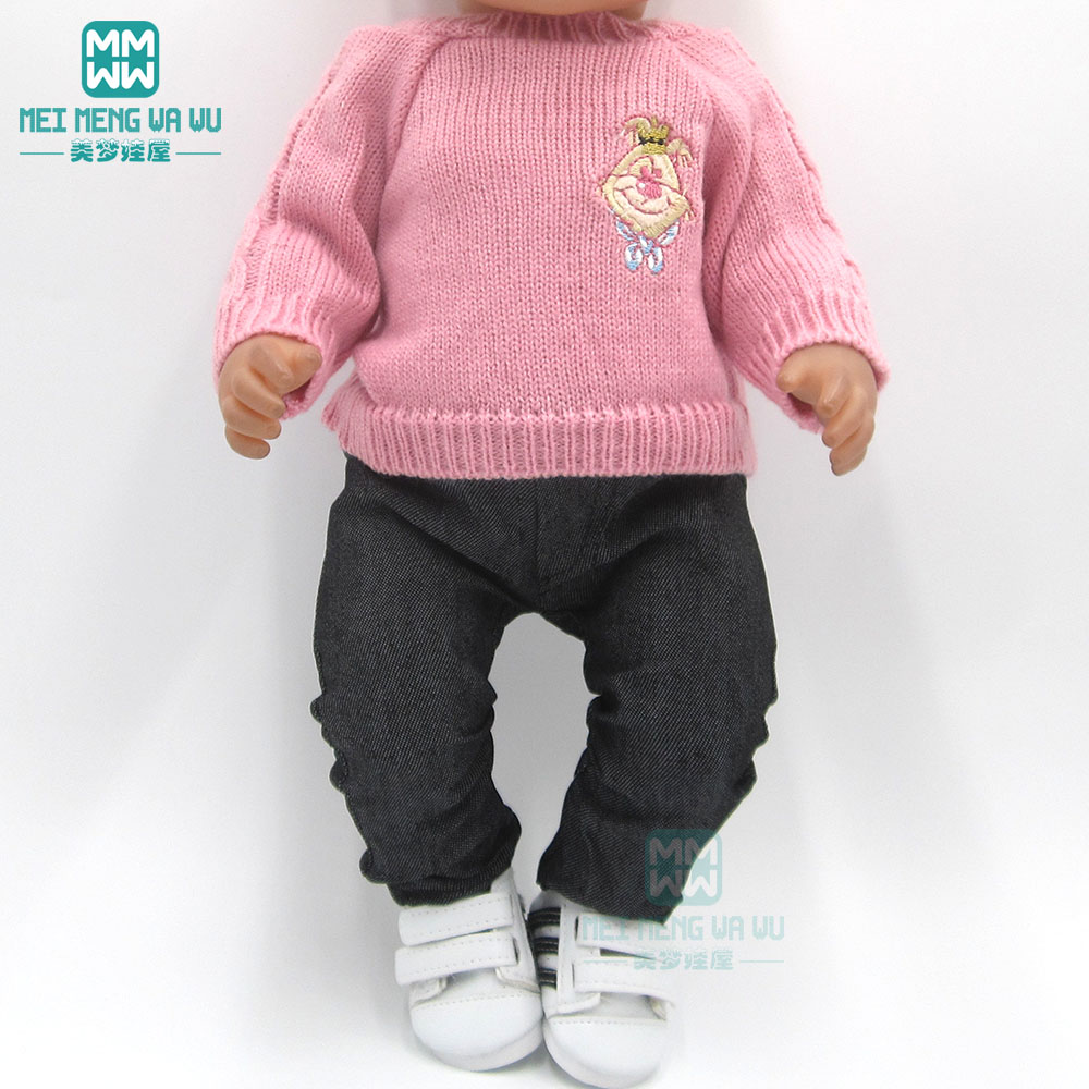 Doll Clothes Pink Sweater, Jeans For 43cm Born Doll And 45cm American Doll Girl Dress