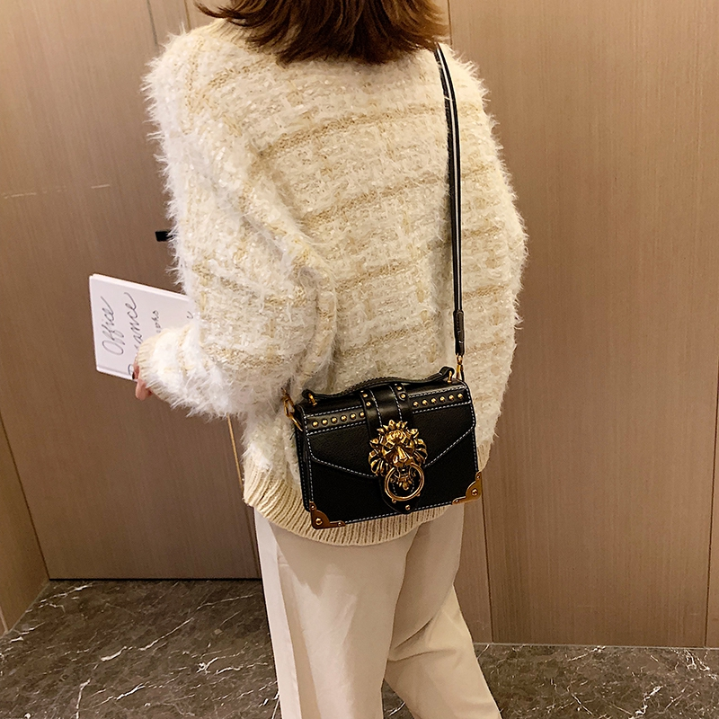 H77bb3f9a57214814b18c25c69387a74fE - Female Fashion Handbags Popular Girls Crossbody Bags Totes Woman Metal Lion Head  Shoulder Purse Mini Square Messenger Bag