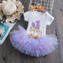 1 Year Old Baby Girl Clothes Letter Rompers+Sequins Headband+tutu Dress 3pcs Birthday Outfits Infant Girls Baptism Dresses 0-12M(China)
