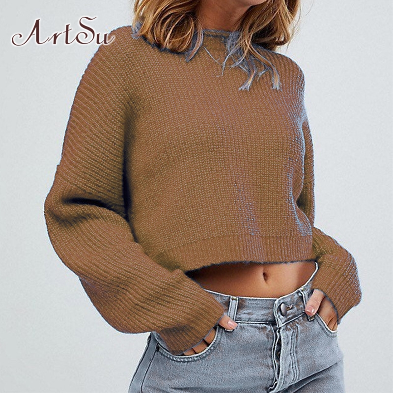 ArtSu Winter Crop Top Sweater Women Pullover Long Sleeve Knitted Sweater Black Jumpers Ladies Streetwear Fashion ASSW20265