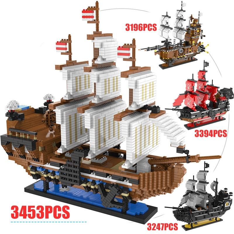 LOZ Mini Blocks Caribbean Pirate Sailing Black Pearl Ship Boat Queen Annes 3D Model DIY Building Diamond Blocks Bricks Kids Toys