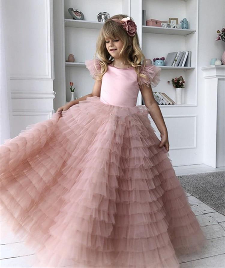 Новинка; пыльно розовое Тюлевое платье с цветочным узором для девочек с бантом из перьев; пышные платья с открытой спиной для малышей; одежд