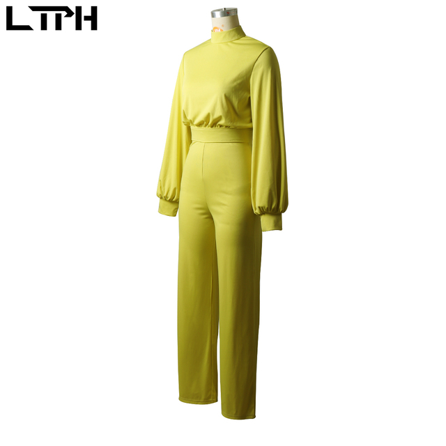 Hot sale 2019 autumn and winter new women jumpsuit Solid knit straight Ful sleeve lhigh collar hollow backless Long Siamese suit 5