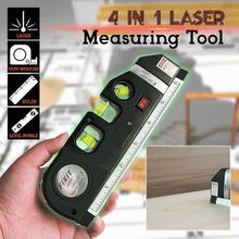 4 In 1 Laser Measuring Tool Horizon Vertical Measure Tape Aligner Bubbles Ruler Lasers Accurate Marking Line Measuring Ruler