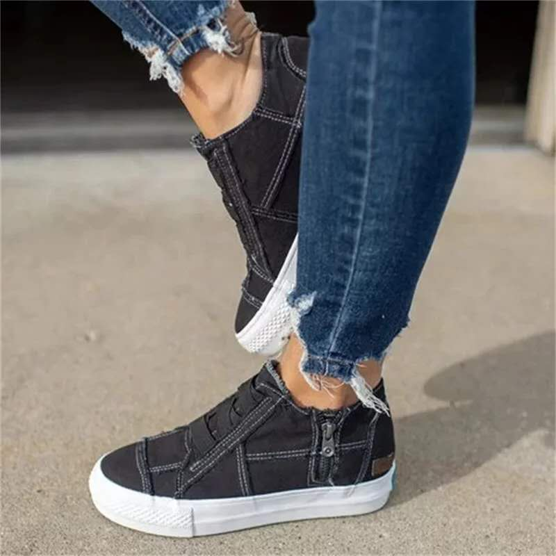 Plus Size Casual Women Shoes 2020 Spring Summer Canvas Platform Ladies Sneakers New Elastic Band Women Vulcanize Shoes VT1223 (16)