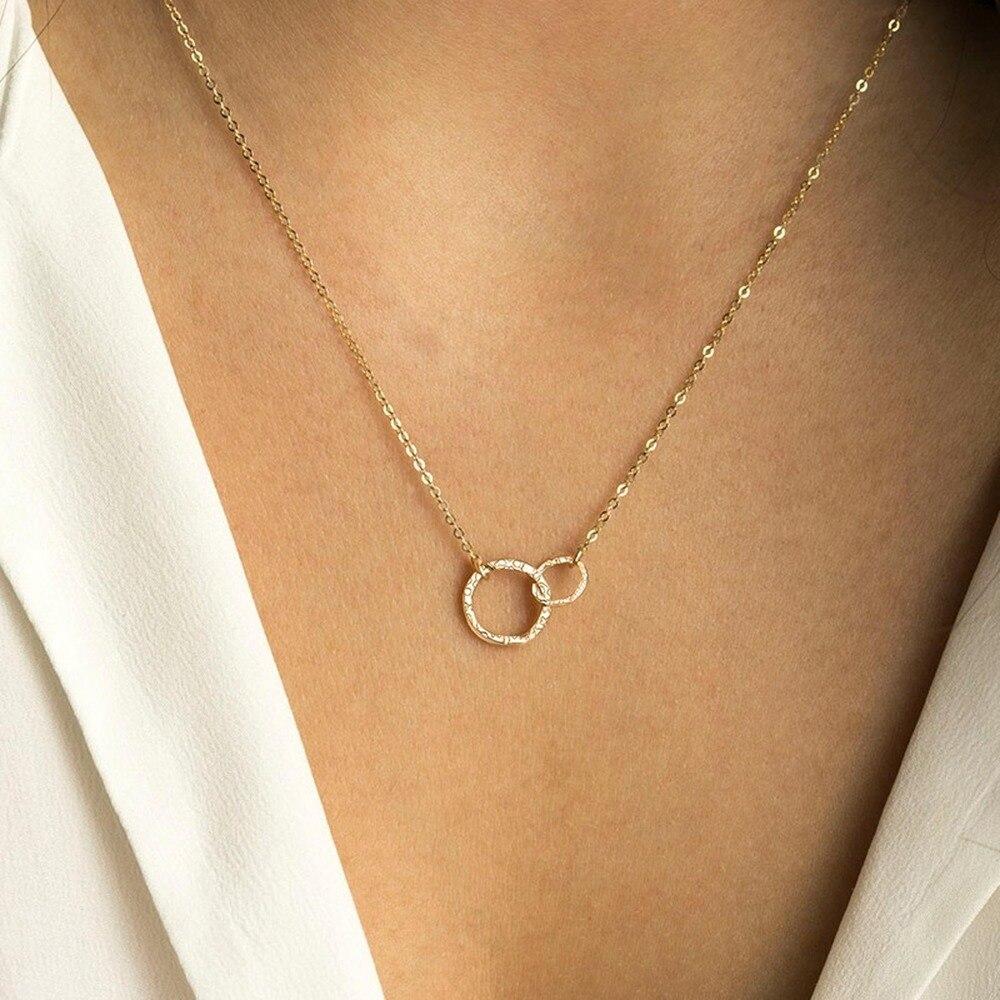 Gold Necklace Women Stainless Steel Circle Pendant Statement Necklace Long Chain Choker Fashion Jewlery Best Friend Couple Gift(China)
