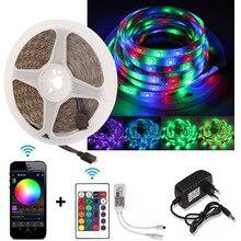 Беспроводной / беспроводной RGB светодиодные полосы света водонепроницаемый 12V 2835 5М Неон Фита Тирас из светодиодов диод лента цвета музыка пульт дистанционного управления адаптер