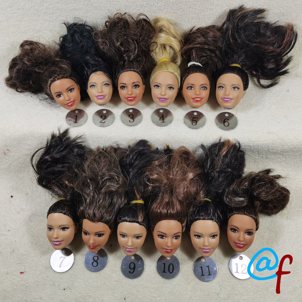 B24-2 Original Foreign Trade South Asia Calm Beauty 1/6 OOAK NUDE Rarely Doll Head Mussed Dark Brown Hair For DIY