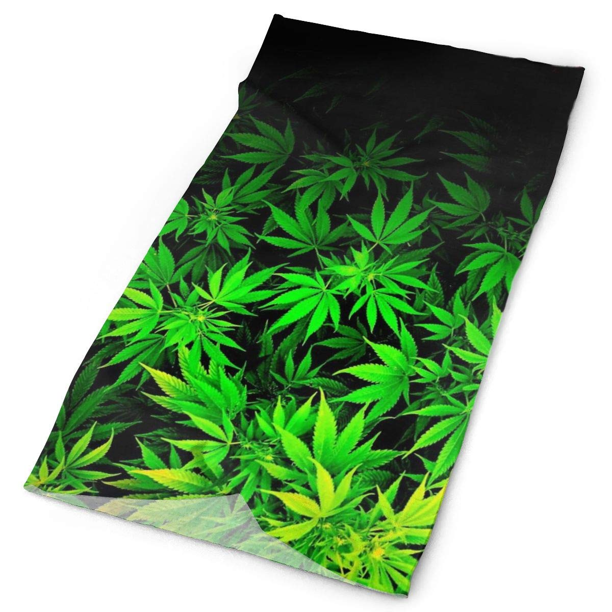 Cool Green Amazing Weed Leaves Headwear - 16 Ways To Wear Including Headband/Neck Gaiter/Bandana/Helmet Liner/Balaclava/Magic