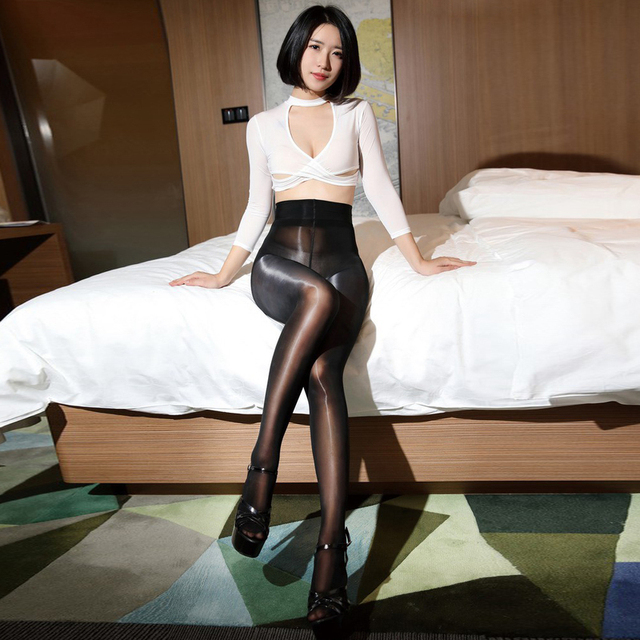 SAROOSY 2020 New Sexy Oil Shiny One Line Crotch Stockings for Women Smooth High Waist See Through Super Elastic Pantyhose 5