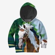 Толстовки с 3d принтом лошади семейный костюм футболка пуловер