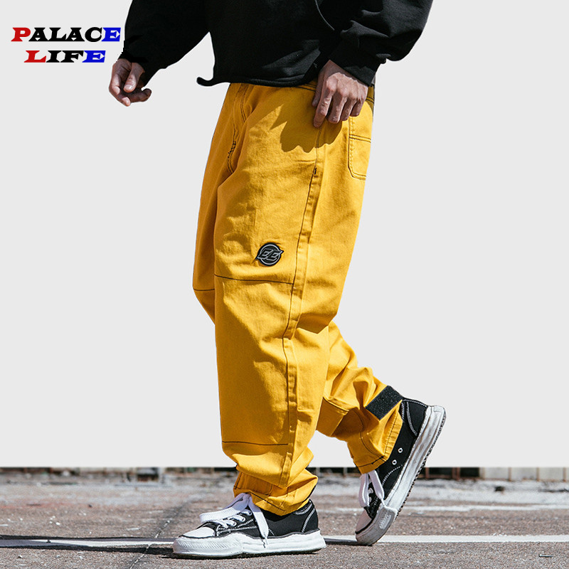 Pant Streetwear Harajuku Baggy Street-Clothing Spring-Trend-Trousers Hip-Hop Yellow Denim