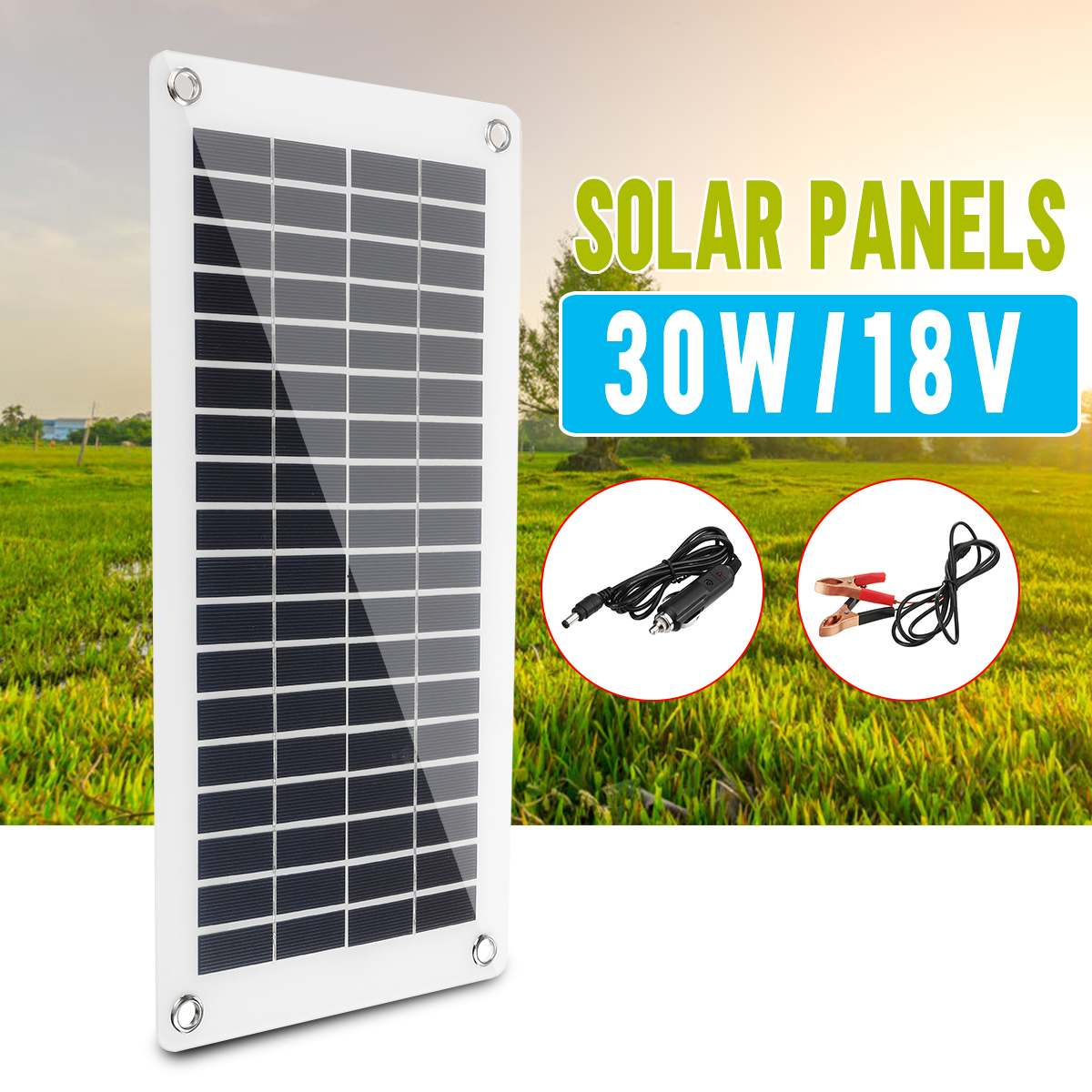 30W 18V half flexible Solar Panel Solar Cell Cell Module DC for Car Yacht Led Light RV Battery Boat Outdoor Charger