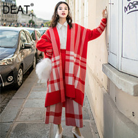 DEAT 2019 new plaided V neck knits cardigan white and red colors + elastic high waist wide legs pants set 19F a14