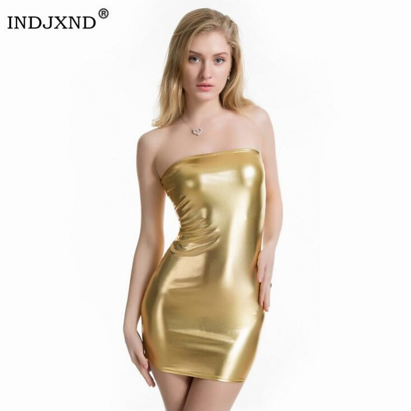 INDJXND Sexy Dress Women Faux Leather Bustier Pencil Celebrity Bodycon Vernis Strapless Off Shoulder Midi Party Clubwear