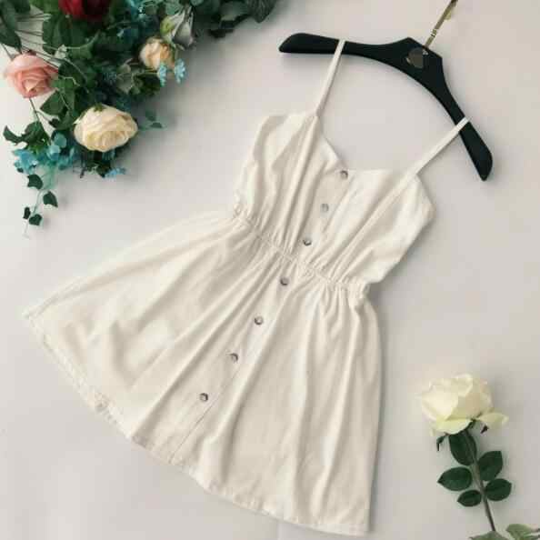 2019 Chic Sling Playsuits Solid Color Single Breasted High Waist Holidays Short Rompers Stretchy Waist Jumpers DV324
