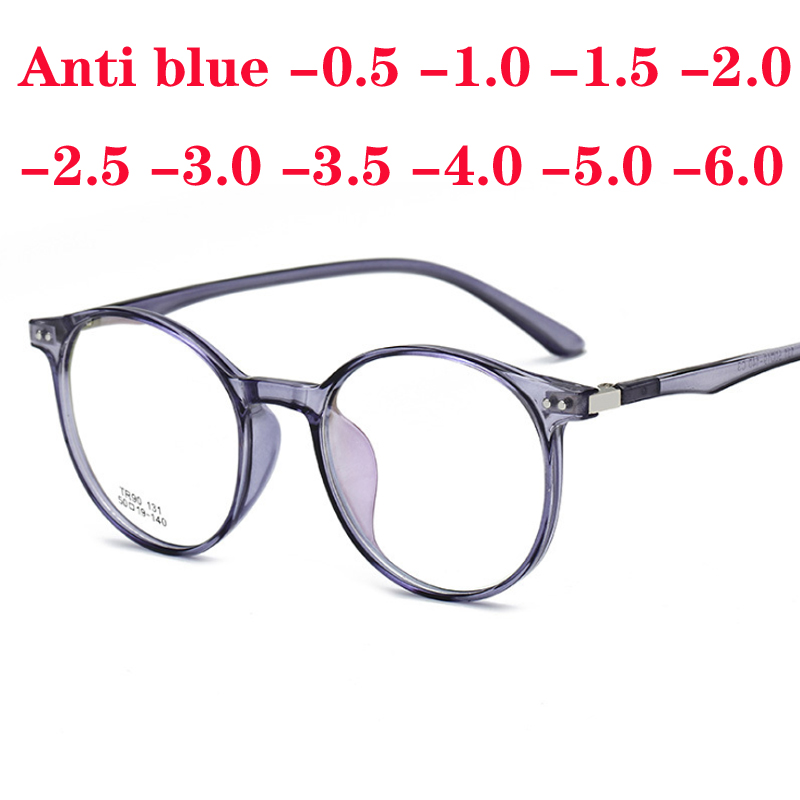 Classic Transparent Round Glasses Frame Women Myopia Glasses Men Vintage Eyeglasses Optical Spectacle -0.5 -1.0 -1.5 To -6.0