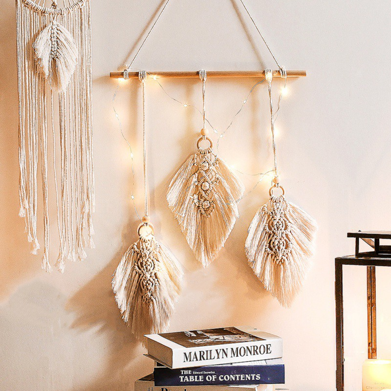 Boho Style Decorative Cotton Woven Macrame Wall Hanging Tapestry For Bedroom Living Room Nursery Home Decorations