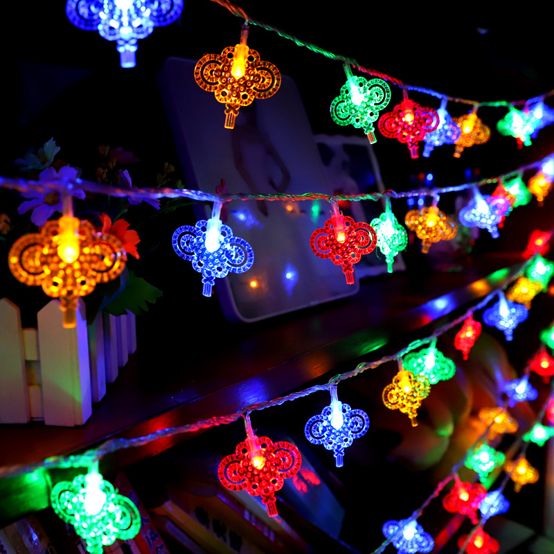 YuShengYiYi Outdoor Chinese Knot Garland Fairy Lights LED Street New Year's String Lights Home Party Wedding Festival Decoration