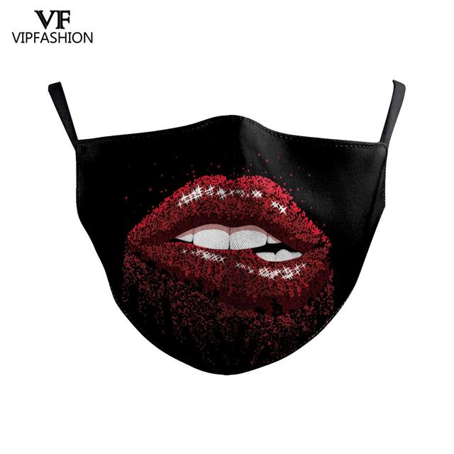 VIP FASHION Funny Big Mouth Print Grimace Ghost Skeleton Face Mask Washable Fabric Reusable Breathable Party Mask 1
