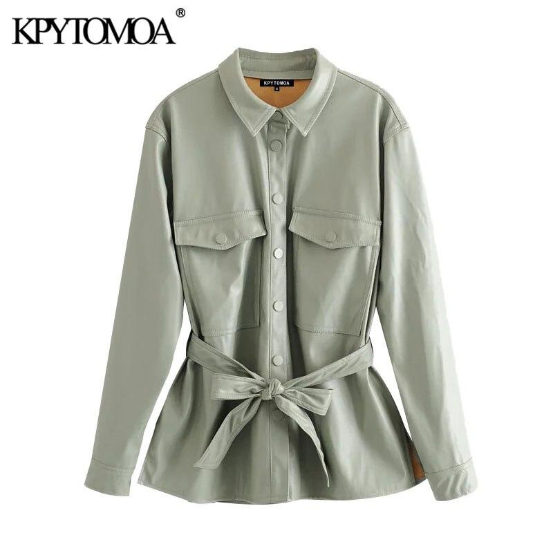 KPYTOMOA Women 2020 Street Fashion PU Faux Leather With Belt Jacket Coat Vintage Long Sleeve Pockets Female Outerwear Chic Tops