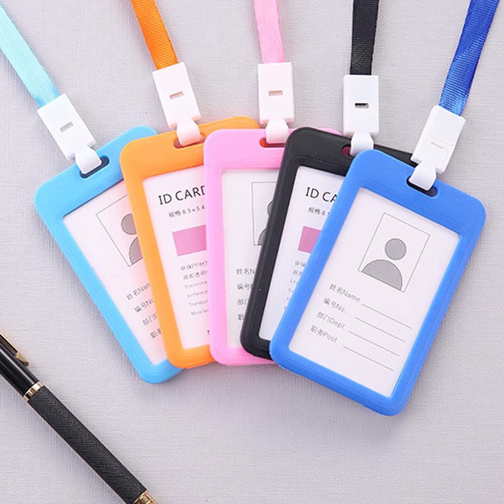 Portable Double Sided Transparent Employee ID Card Holder Name Tags with Lanyard for Company school