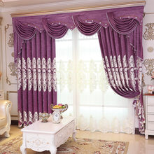 Luxury Curtains Tulle For Living Room European Chenille Embroidery Velvet Curtains Tulle Purple Bedroom Decorate Panel P019-30(China)