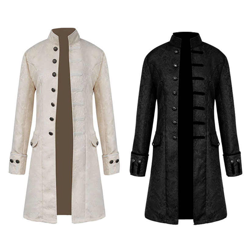 Edith qi Mens Steampunk Gothic Coat Victorian Jacket Stand Collar Uniform Christmas Halloween Party Cosplay Trench Costume