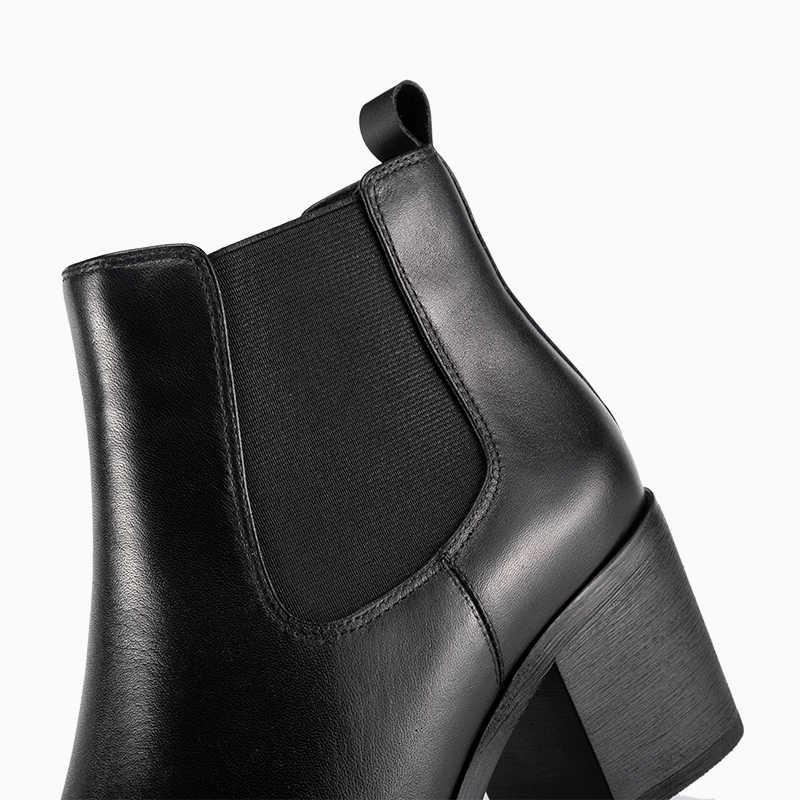 Donna Trong Giải Phóng Mặt Bằng Chính Hãng Ủng Da Cá Nữ Mũi Nhọn Gót Dày Giày Chelsea Boot Da Bê Nữ Giày Nữ giày