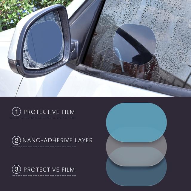 2pcs set car rearview mirror waterproof sticker window transparent film Anti fog anti-glare window foil auto protective stickers 4