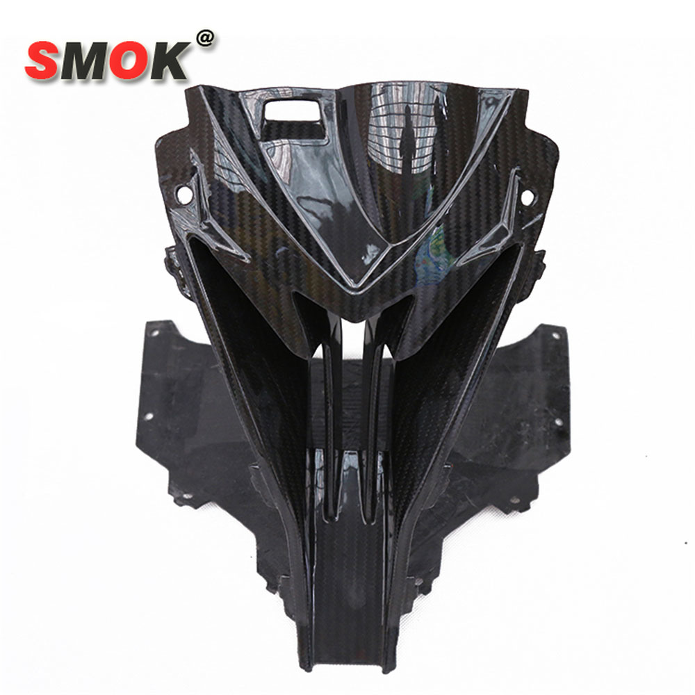 SMOK Front Head <font><b>Carbon</b></font> <font><b>Fiber</b></font> For <font><b>BMW</b></font> <font><b>S1000RR</b></font> S 1000 RR 2015-2018 Motorcycle Nose Cowl Air Intake Full Fairing Kits Covers image