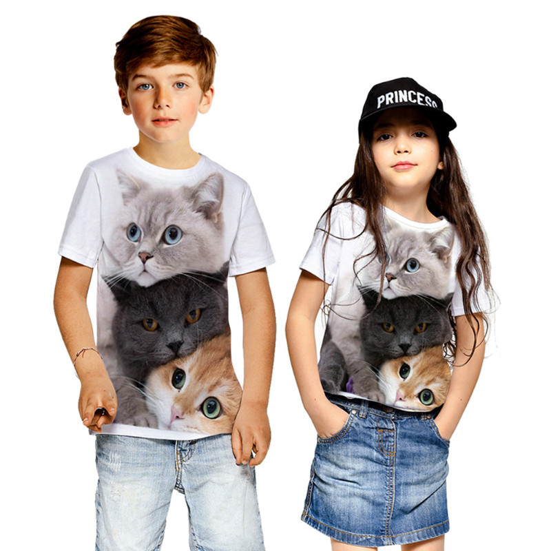 PatPat 2020 Новая летняя стильная футболка с коротким рукавом и принтом кота, детские топы, футболка с коротким рукавом, детская одежда|Тройники| | АлиЭкспресс
