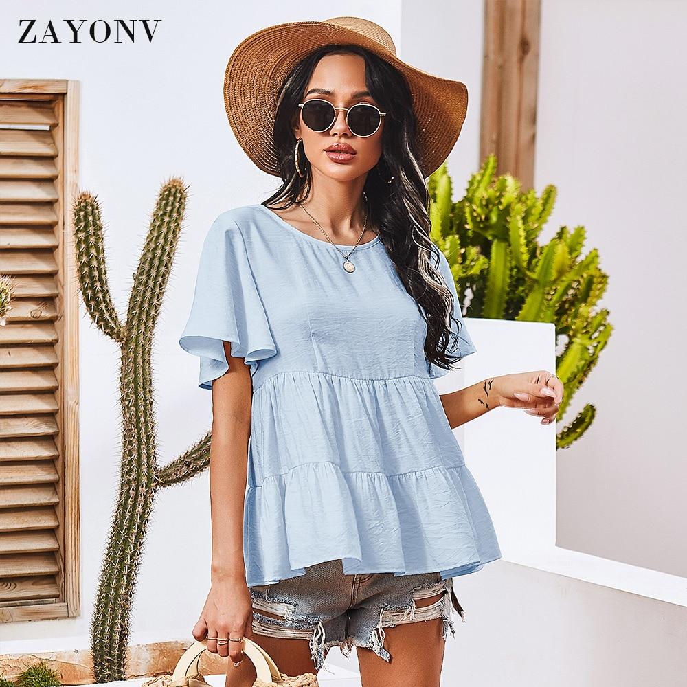 Women's Flowy Tank Tops Short Sleeve Crew Neck Casual Shirts Loose Fitting Blouses Women Women's Blouses Women's Clothings