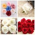 5 шт., высокое качество, 10 см, искусственные цветы, шелк, бархат, роза, бежевый, красный цветок, головки, домашний декор, Свадебная вечеринка, ук...