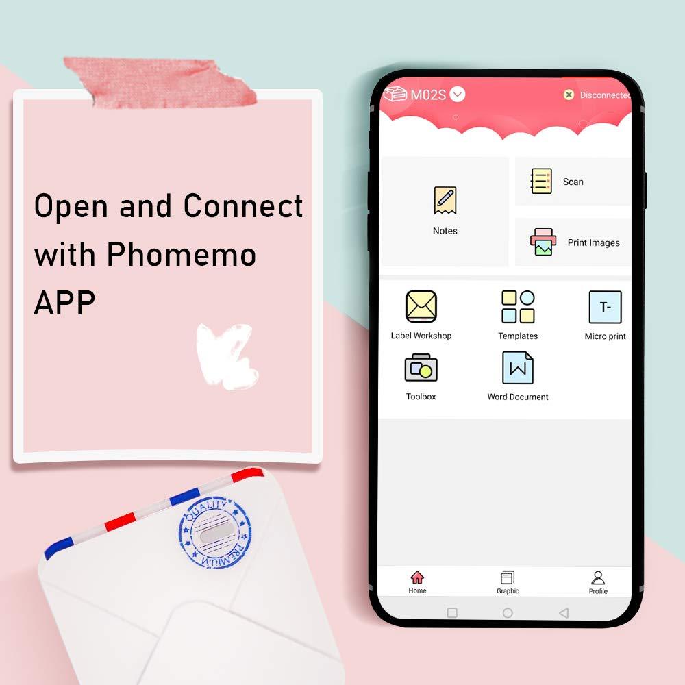 Phomemo M02S Mini Tasche Foto Drucker 300dpi Bluetooth Thermische Drucker Kompatibel mit iOS & Android Telefon 53mm Tasche drucker