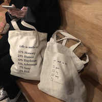 GABWE Daily Use Reusable Simple Shopping Bag Travel Canvas Tote Bags Printing Eco Cotton Bag Women Ins Zipper Shoulder Bags