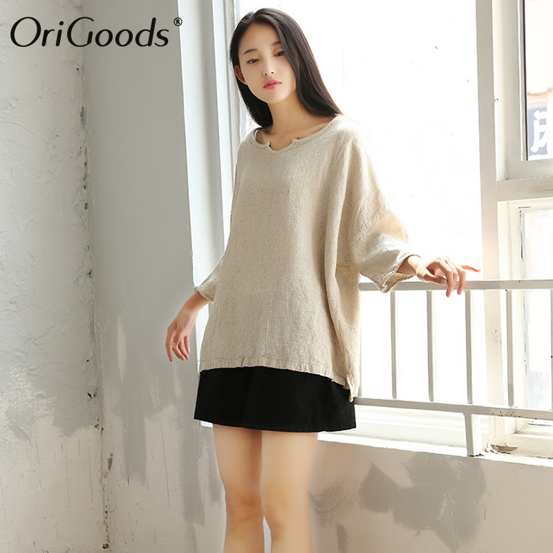 Linen Blouse Women Plus size Solid Beige Linen Shirt Blouse Women Women's Blouses Women's Clothings