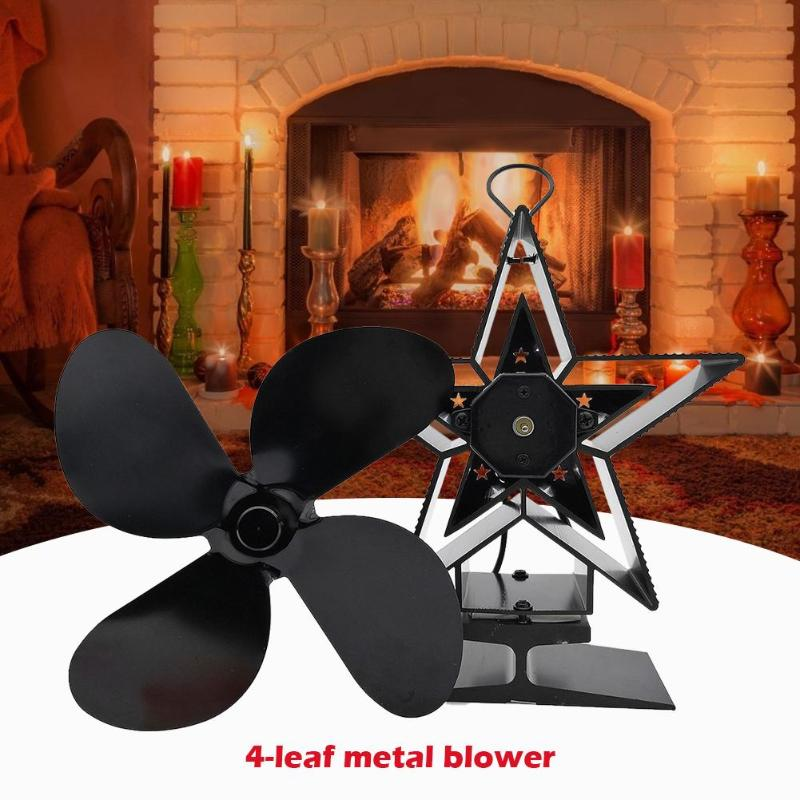 Black Fireplace 4 Blade Heat Powered Stove Fan Komin Log Wood Burner Eco Friendly Quiet Fan Home Heat Distribution Quiet Fan