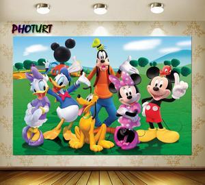 Image 2 - PHOTURT Mickey Minnie Mouse fotoğraf Backdrop bebek duş doğum günü partisi arka plan ördek köpek çim vinil fotoğraf stüdyoları sahne
