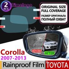 For Toyota Corolla E140 E150 2007 - 2013 Full Cover Anti Fog Film Rearview Mirror Rainproof Anti-Fog Films Accessories 2009 2010 overe 1set car cargo rear trunk mat for toyota corolla e140 e150 2007 2008 2009 2010 2011 2012 2013 anti slip mat accessories