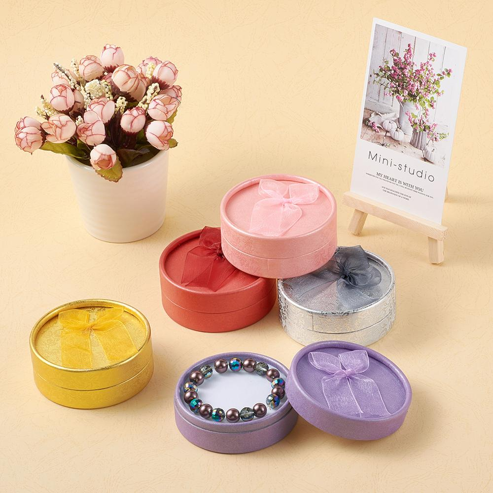 Pandahall 12pcs Round Cardboard Bracelet Jewelry Gift Boxes Carton Packaging Display Cases Sponge Inside Bowknot Outside 8.4cm
