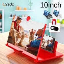 10 inç 3D cep telefonu ekran büyüteci HD Video amplifikatör Stand braketi ile film oyunu büyüteç katlanır telefonu masası tutucu