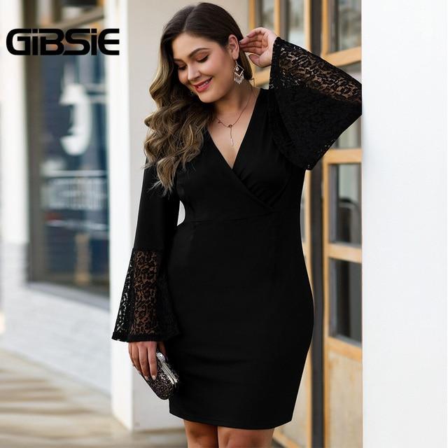 GIBSIE Women Black Elegant Lace Flare Long Sleeve Party Bodycon Dress Autumn winter Office Lady Plus Size V-Neck Mini Dresses 3