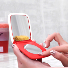 Led с зеркало для макияжа с лампой Smart touch затемнение зарядки сокровище Пластиковые Складные портативные двойное зеркало