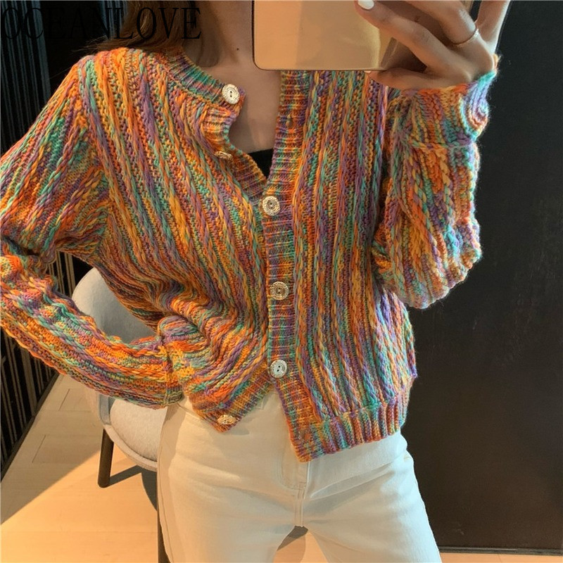 OCEANLOVE 2020 Spring Cardigans Rainbow Striped Short Sweaters Women Korean Student Casual Ins Chaqueta Mujer Fashion 15037