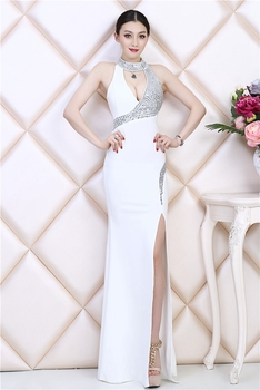 High-end luxury sexy halter evening dress elegant lady host annual meeting catwalk stage performance fishtail dress female