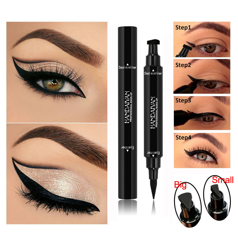 Double-Headed Seal Black Eyeliner 2 In 1 Liquid Triangle Seal Eyeliner Waterproof Eye Liner Pencil Stamp Eyeliner Pen Eye Makeup