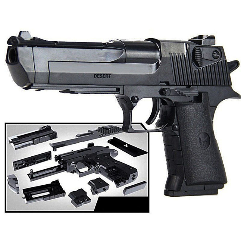 Police SWAT DIY Toy Gun Desert Eagle LegoINGLs Model Building Blocks Weapon Assembly Brain Game Can Fire Bullets Toys For Boys